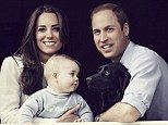 Family portrait: In the shot, taken by award-winning photographer Jason Bell at a window of the Cambridges' home, Apartment 1A of Kensington...