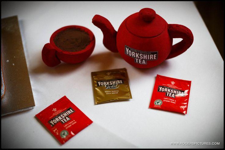 A truck wedding cake and Yorkshire Tea teapot at a Denton Hall wedding