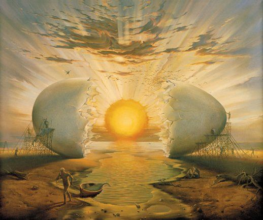 This drawing is showing an egg being used as the sun , it is cracked & showed to make it look like the sun is rising.