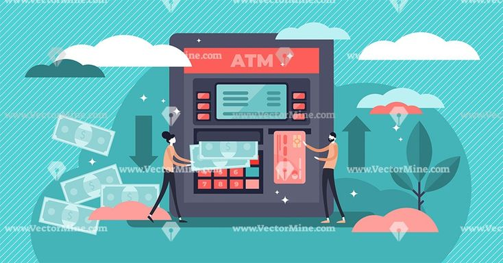 ATM cash machine flat tiny persons concept vector illustration