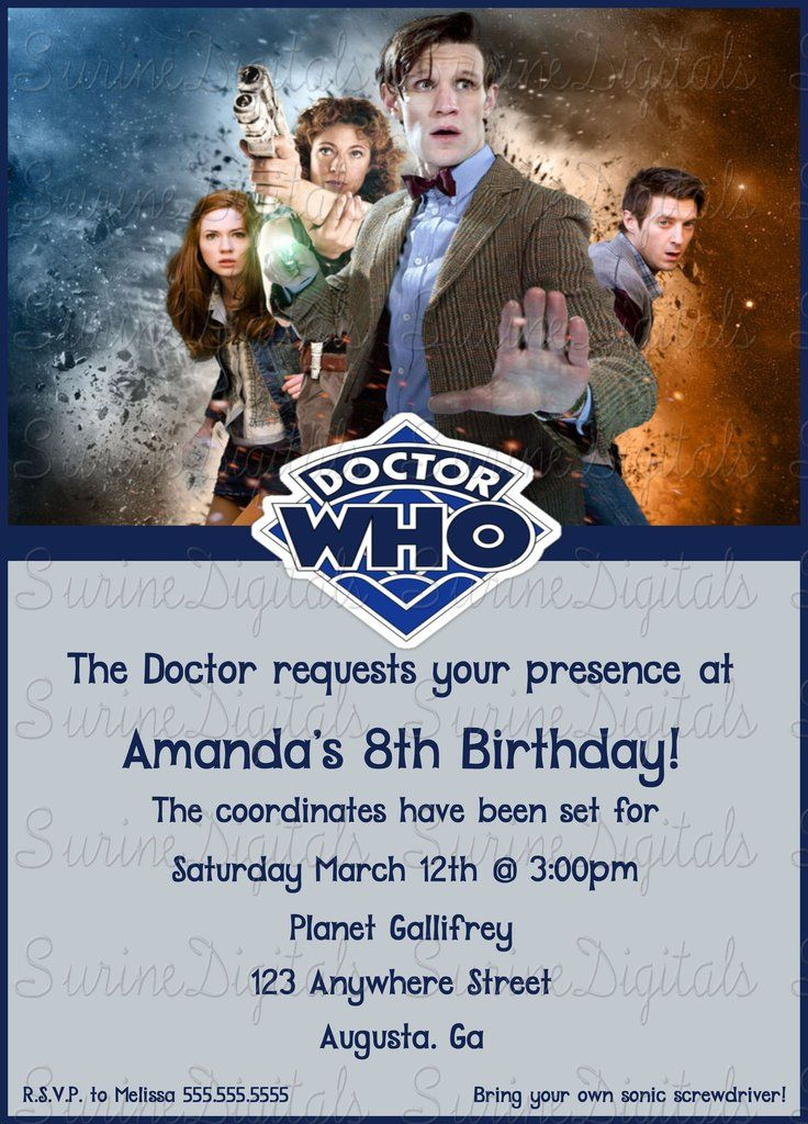 125 best Birthday Invitations images – Doctor Who Party Invitations