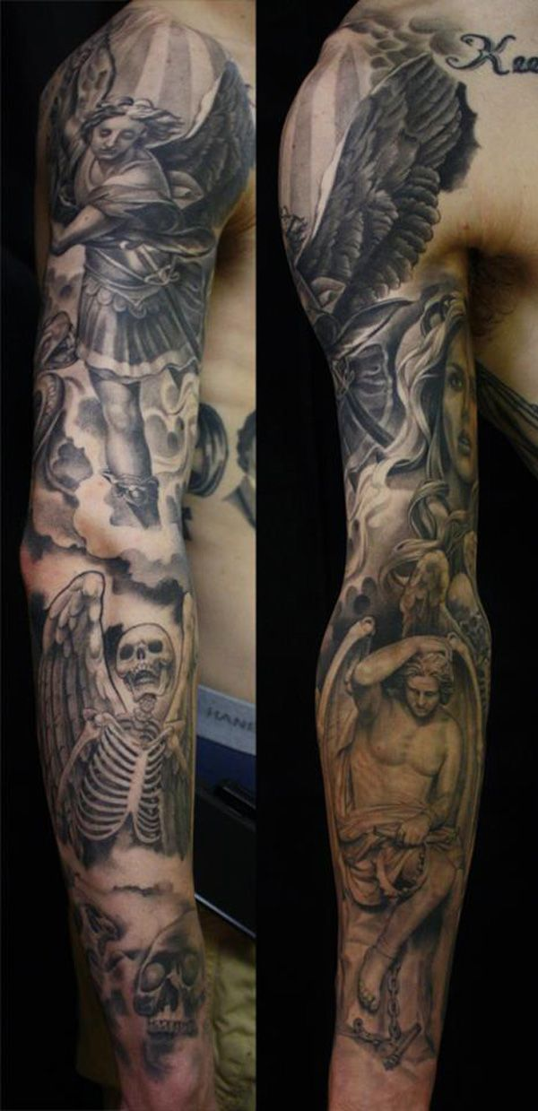 17 best heaven and hell tattoo images on pinterest sleeve tattoos tattoo ideas and angels tattoo. Black Bedroom Furniture Sets. Home Design Ideas