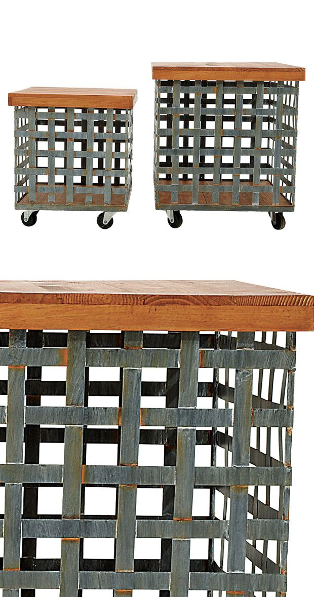Send your linens to the laundry room with ease with this pair of caster-equipped metal baskets. With sleek metal lattice-style bodies and handsome wooden lids, this set of Armie Metal Baskets will make...  Find the Armie Metal Basket - Set of 2, as seen in the Industrial Indulgence Collection at http://dotandbo.com/collections/industrial-indulgence?utm_source=pinterest&utm_medium=organic&db_sku=115023