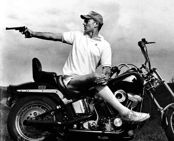 """""""So we shall let the reader answer this question for himself: who is the happier man, he who has braved the storm of life and lived or he who has stayed securely on shore and merely existed?"""" — Hunter S. Thompson (image by Annie Leibovitz)"""
