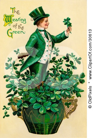 Vintage Victorian St Patricks Day Scene Of A Leprechaun Or Isirh Man Standing In A Pot Of Shamrocks, Holding A Clover, Circa 1910 Posters, Art Prints