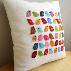 Colorful felt birds pillow