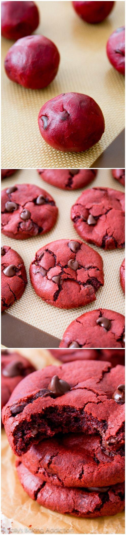 Soft-baked red velvet chocolate chip cookie recipe made from scratch! Recipe on sallysbakingaddiction.com