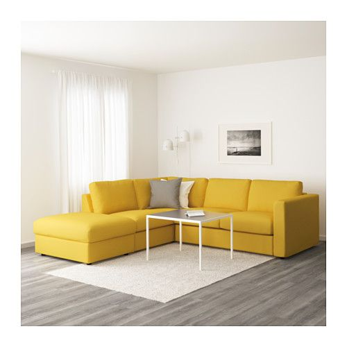 VIMLE Corner sofa, 4-seat, with open end, Orrsta golden-yellow with open end/Orrsta golden-yellow