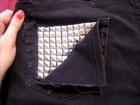 HOW TO - Stud Your Clothes - YouTube  Ordered 100 silver pyramid studs on ebay for $3.00.  Can make 2 outfits with 100 studs. A pair of shorts and jeans.