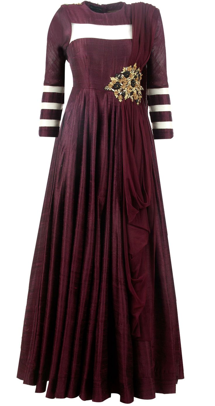 Maroon embroidered anarkali by RIDHI MEHRA. Shop at http://www.perniaspopupshop.com/whats-new/ridhi-mehra-maroon-embroidered-anarkali-rmc0913s14.html