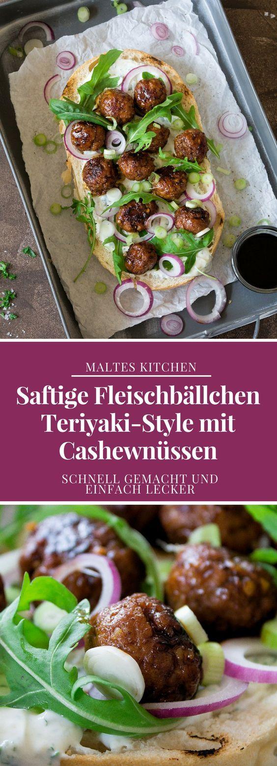 Saftige Fleischbällchen Teriyaki-Style mit Cashewnüssen   #Rezept von malteskitchen.de