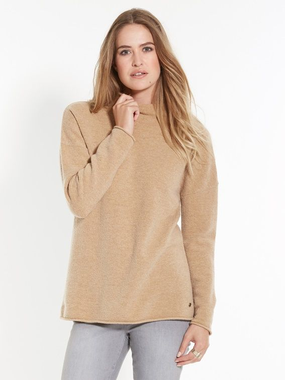 Pull loose, col cheminée - BEIGE+GRIS CHINE - 2