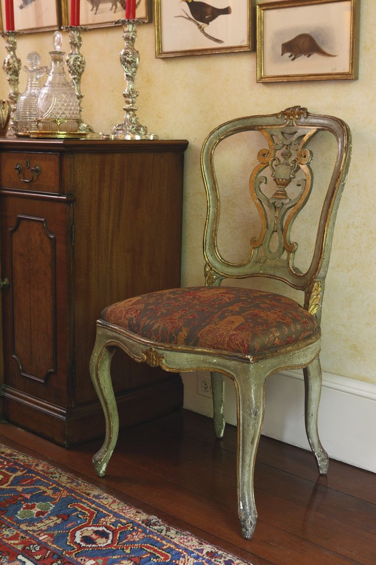 Green painted dining chair - A Set Of Twelve Italian Rococo Green Painted And Parcel Gilt Dining Chairs Third