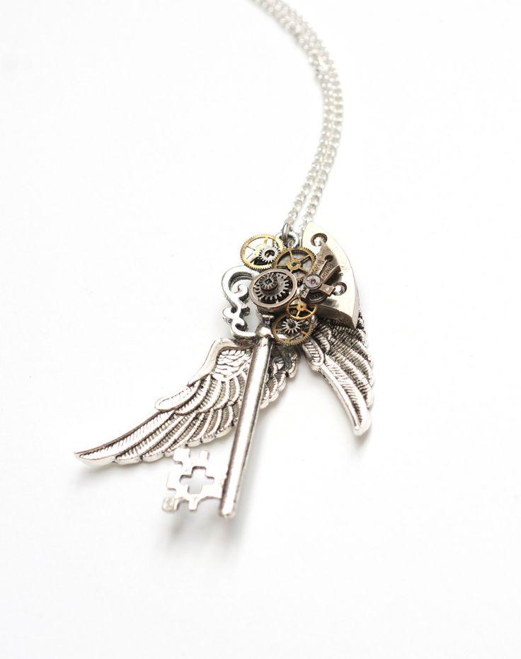 銀翼×歯車 スチームパンク 鍵ネックレス - クリスタル - スチームパンク雑貨店 SteamCottage   ハンドメイドの作家物スチームパンクアクセサリー通販