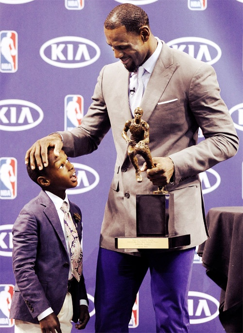 LeBron James. He wants to impress his kids when he is on the court, and has three MVP trophies to show it.