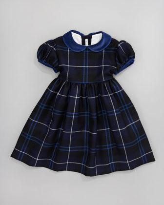 Velvet-Trim Plaid Dress - Neiman Marcus