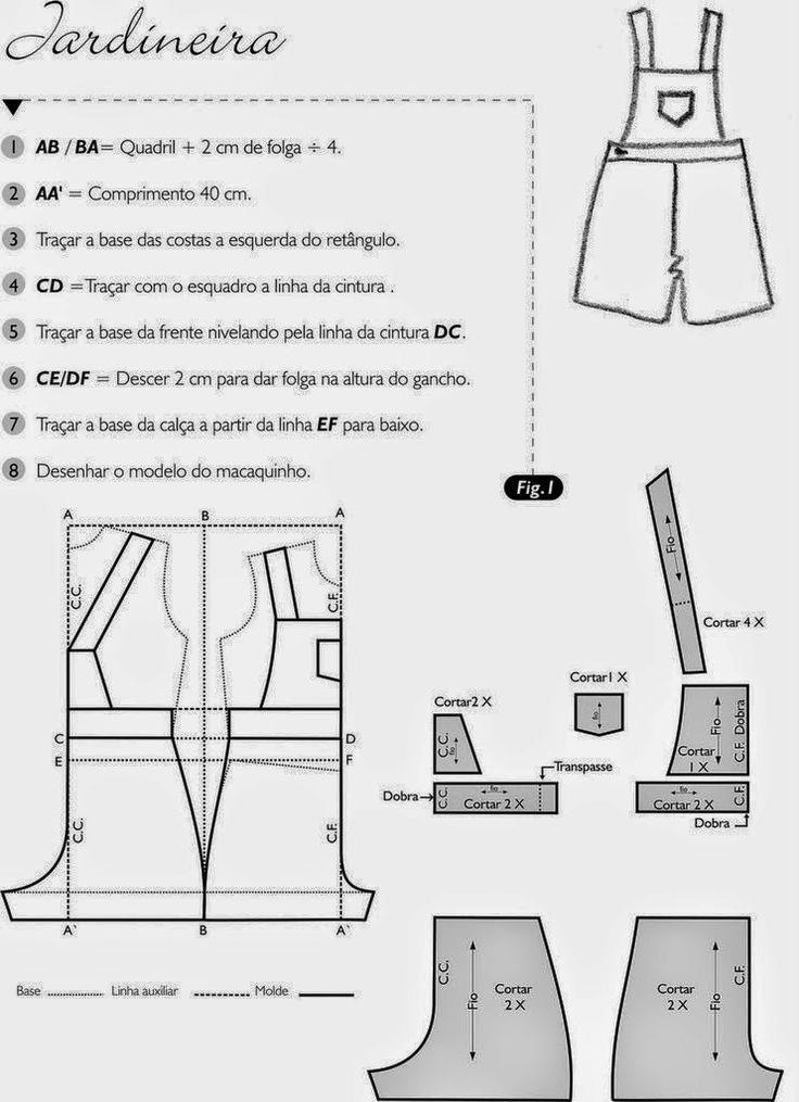 moldes de macaquinho jeans tamanho natural - Pesquisa Google