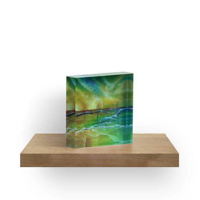 green, living room decor, ideas, for sale, coastal scene, fantasy, sunset, seascape, sky, landscape, artistic, acrylic block