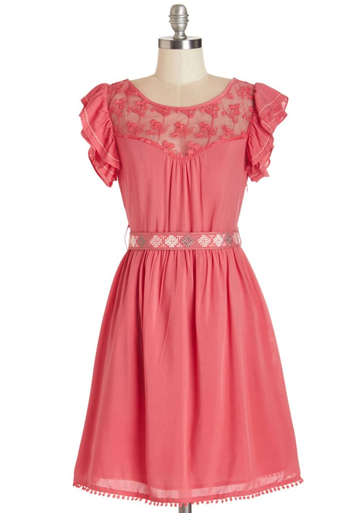 Indie Darling Dress in Coral. Be the next top quirky-chic sensation in this darling, indie-infused frock! #coral #modcloth