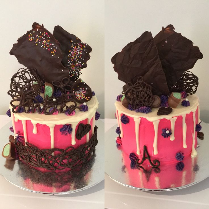 Rainbow zebra drip cake
