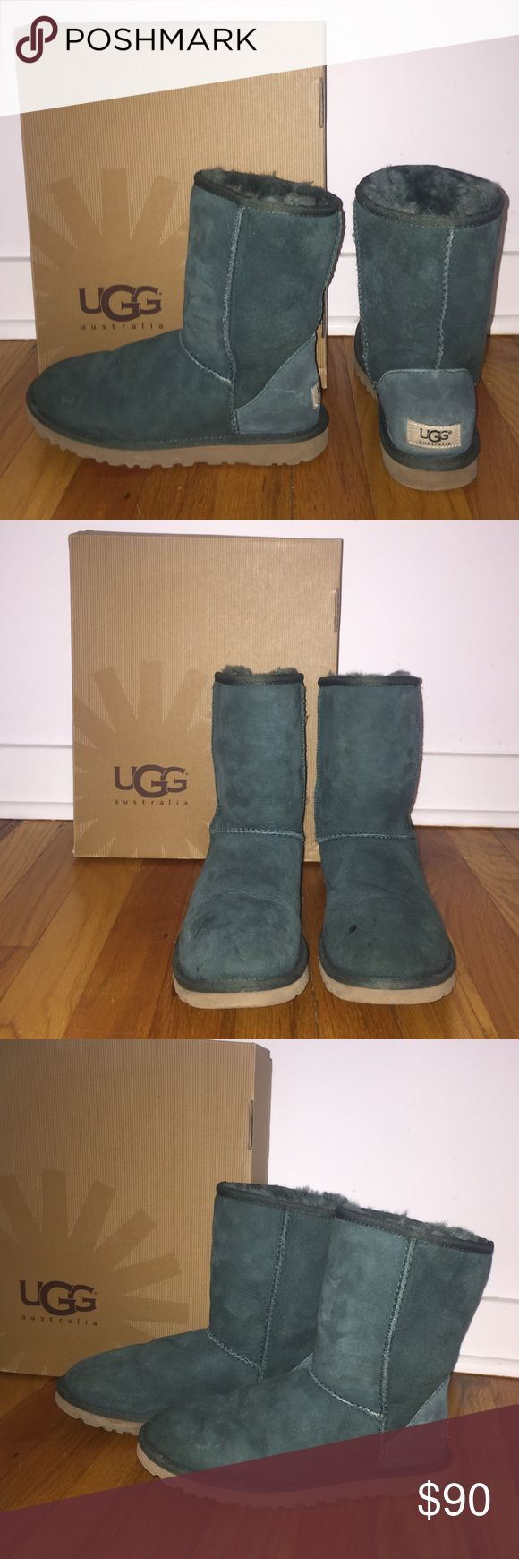 Ugg Australia Classic Hunter Green Worn once. One spot on right boot's toe as shown in picture. Other than that brand new. UGG Shoes