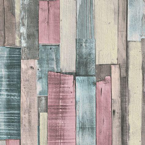 Papel pintado imitaci n madera multicolor pdd521868715 - Papel pintado imitacion madera ...