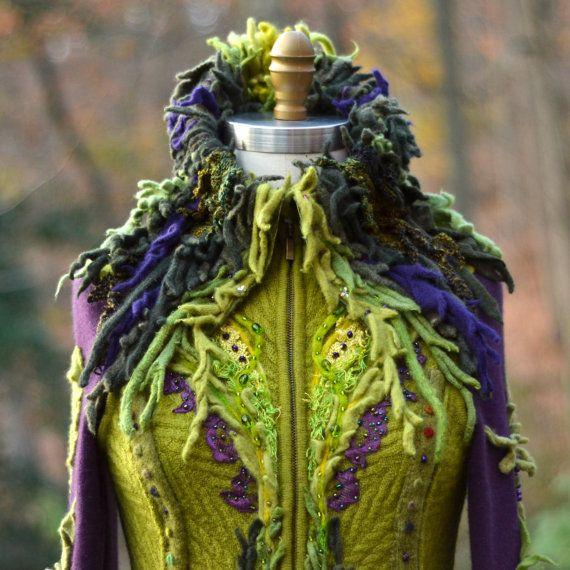 Sweater Coat fantasy boho patchwork woodland style Wearable art clothing. Size Small. Ready to ship