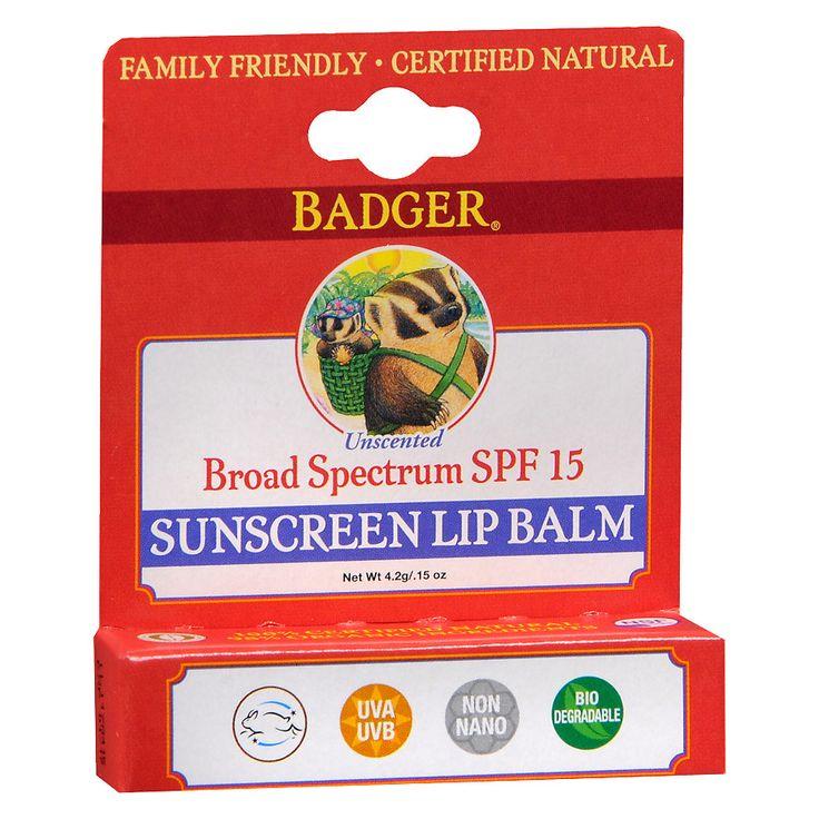 Badger Sunscreen Lip Balm SPF 15 Unscented. Walgreens. Ewg 1