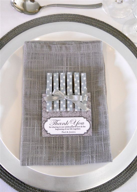 grey pegs as wedding favours