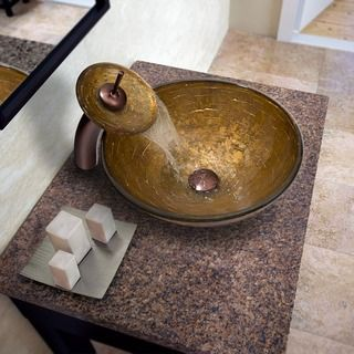 Vigo Brown and Gold Fusion Glass Vessel Sink and Waterfall Oil Rubbed Bronze Faucet Set   Overstock.com Shopping - The Best Deals on Bathroom Sinks