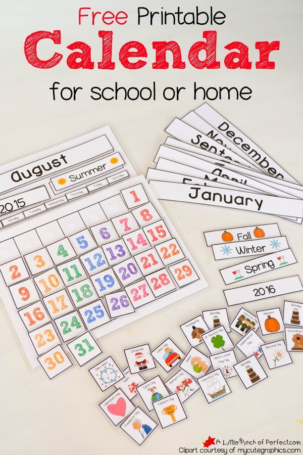 Cute Free Printable Calendar for Circle Time with Kids-Comes with template and lots of pieces -- perfect to use in a classroom or at home