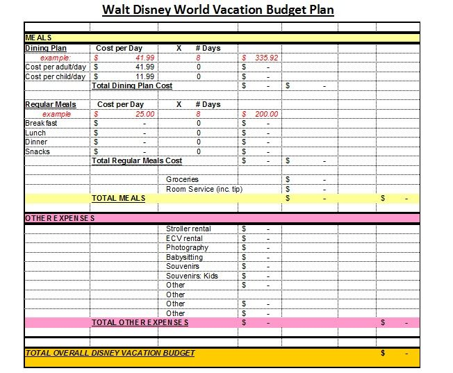 Disney Vacation Planning Worksheets Disney