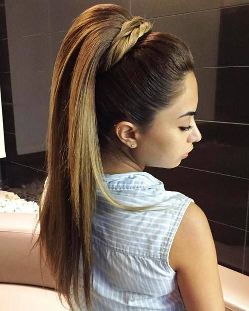 formal pony hairstyle for long straight hair
