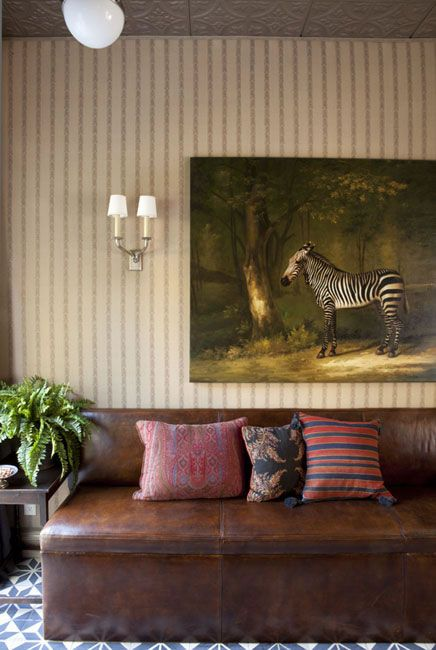 Schuyler Samperton + kilim pillows + zebra art + safari, tropical, global, lounge