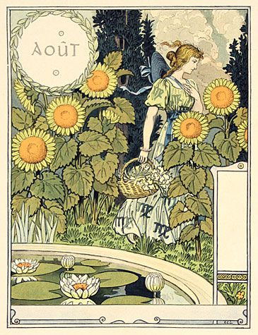 sun flowers are appropriate for August/ Aout - wood carvings of gardening thru the year by Eugene Grasset