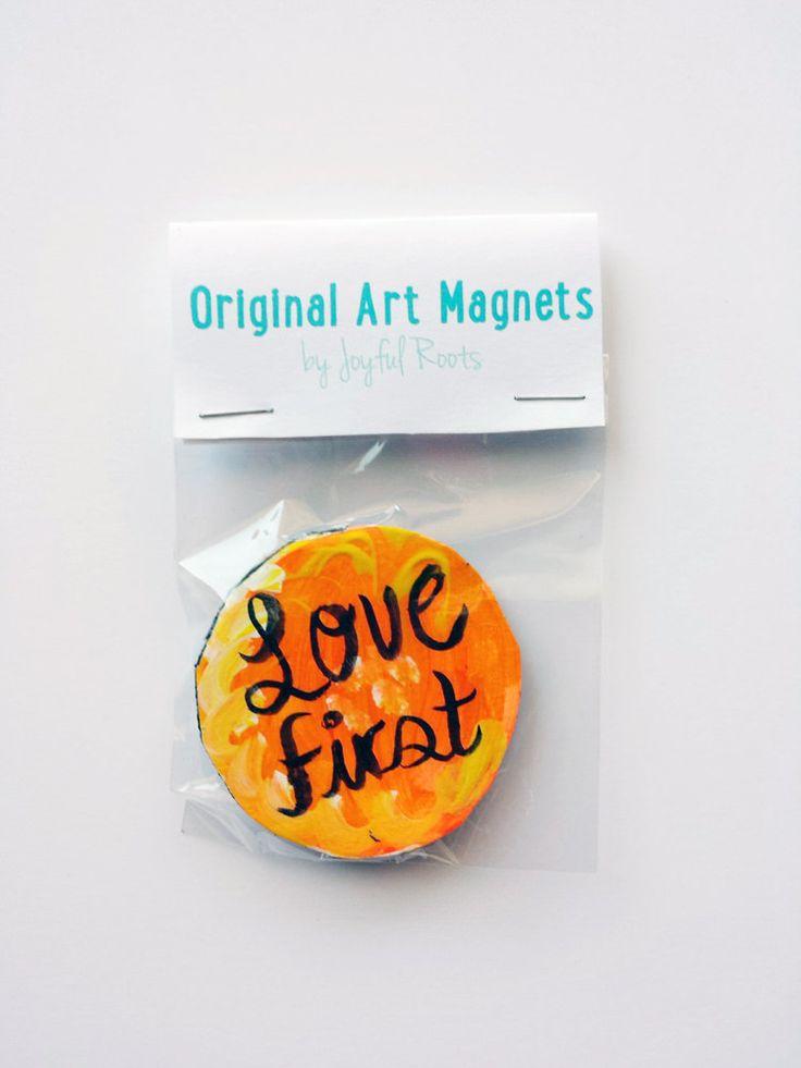 New to JoyfulRoots on Etsy: Original Art Magnet Love First Housewarming Gift Gift For Home Hipster Gift Stocking Stuffer Inspirational Decor Neon Orange Art (5.00 USD)