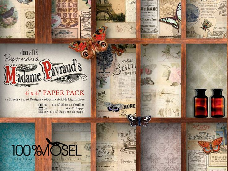 "32 Blatt Madame Payraud 6 x 6"" Scrapbookingpapier von 100%Mosel auf DaWanda.com"