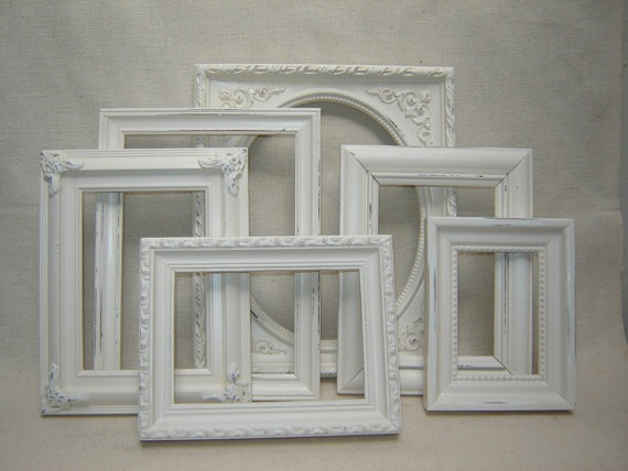 Upcycled French Victorian Romantic Cottage Wedding Picture Frames - 6 Cottage White