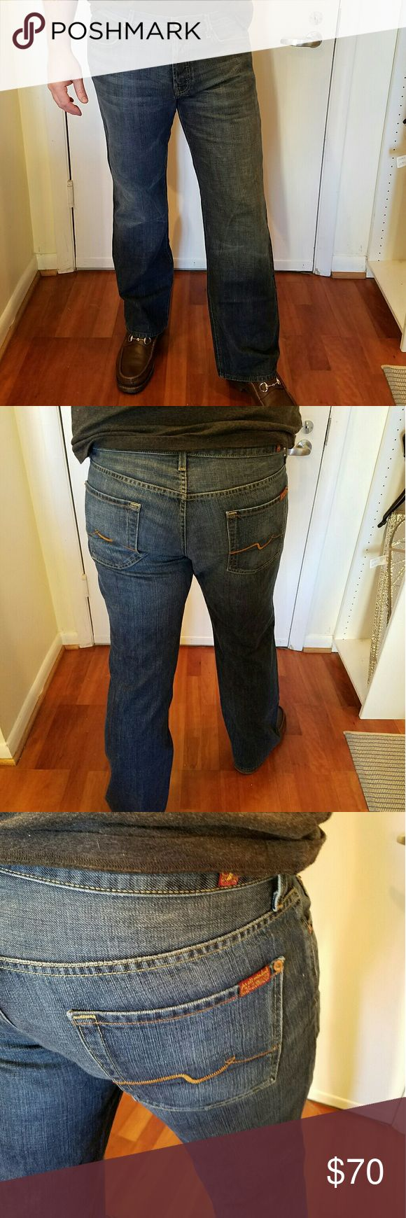 Mens 7 For All Mankind Jeans Mens Seven jeans Relaxed 36 x 33. Cut # 716941  button fly   Seven jeans for men. Get your man some stylish designer jeans. 7 For All Mankind Jeans Relaxed