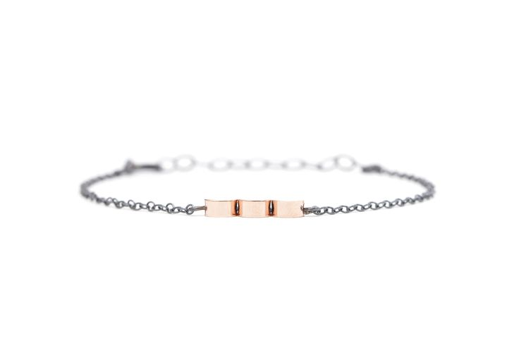 Silver bracelet with rose gold beads