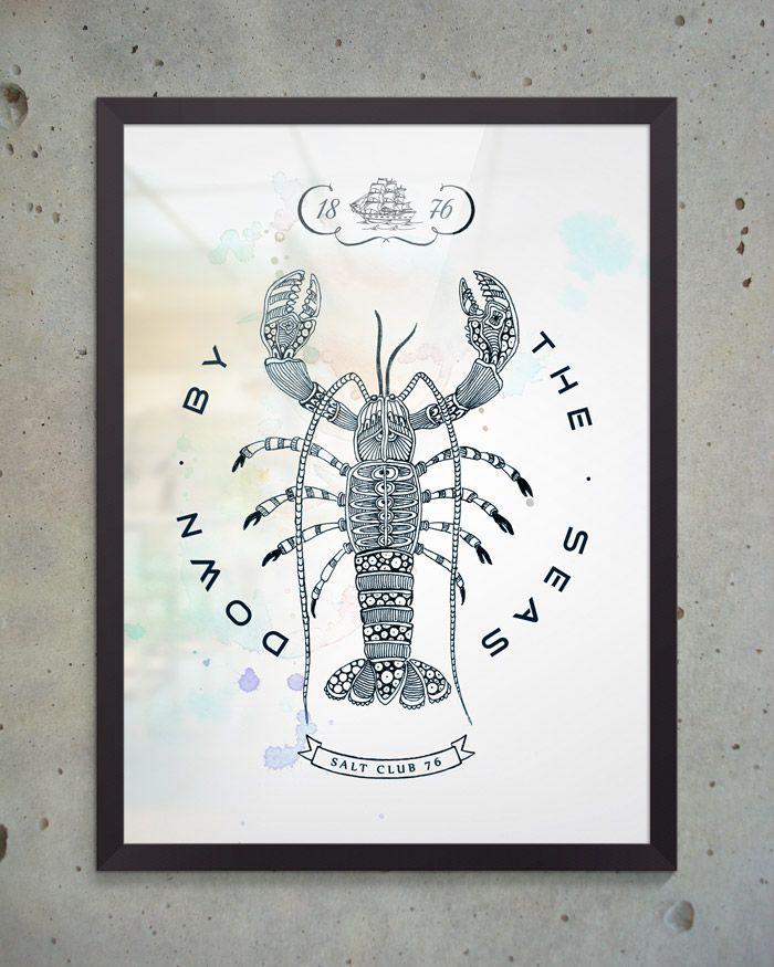 Художественный постер Lobster из коллекции Salt Club 76 формата А3 под стеклом в раме. Идеально подходит для оформления интерьера в морском стиле, будь то ресторан, личный кабинет или офис. #постеры #принты #картины #иллюстрация