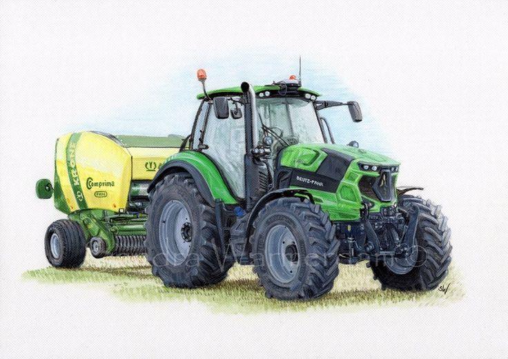 Deutz 6165 Tractor with Krone Baler, Painting, Acrylic on Paper Board A4 #deutz #tractor #painting #art