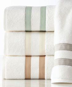 Pretty white striped towels