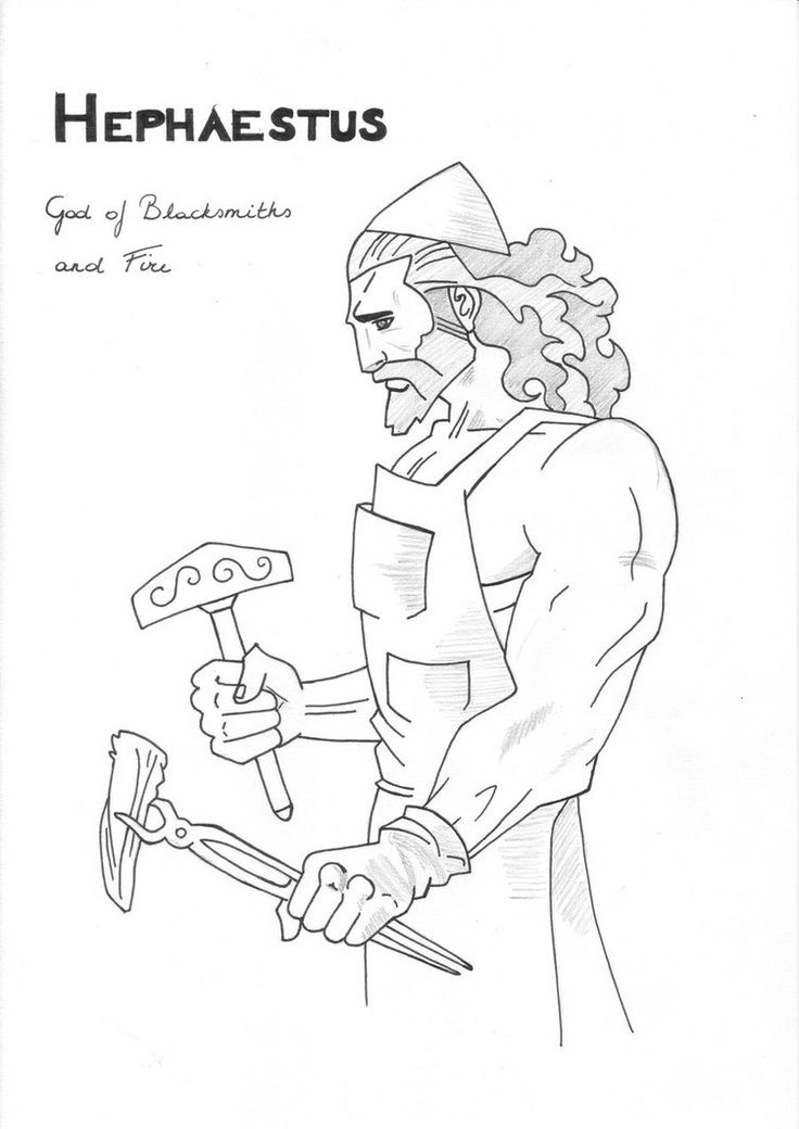 Hephaestus coloring page Greek God mythology Unit study by LilaTelrunya