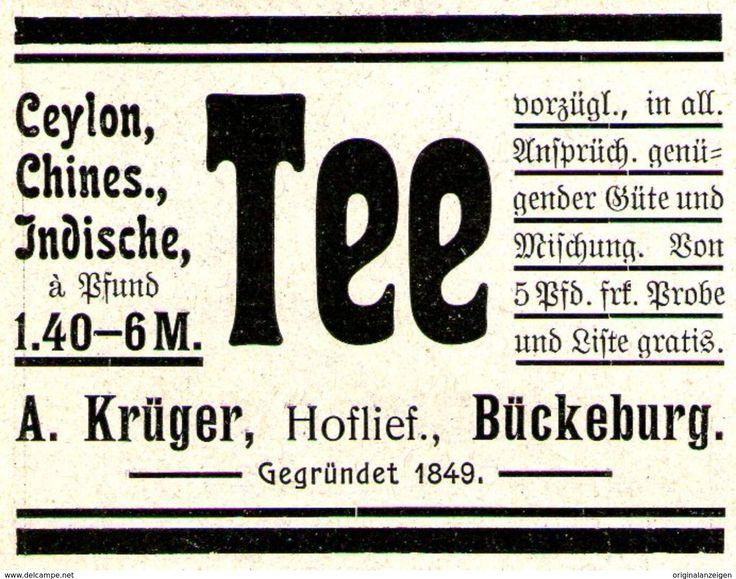 Original-Werbung/ Anzeige 1907 - CEYLON TEE / KRÜGER - BÜCKEBURG - Ca. 55 X 45 Mm - Werbung