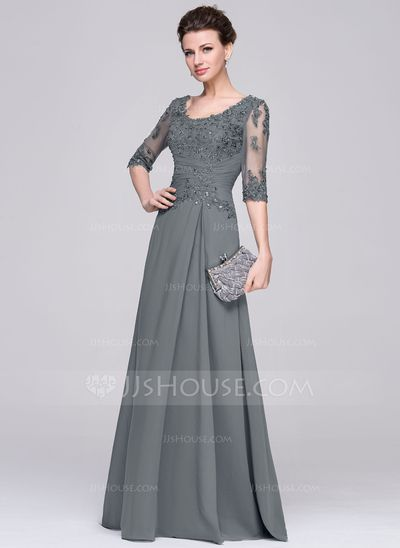 A-Line/Princess Scoop Neck Floor-Length Chiffon Mother of the Bride Dress With Ruffle Beading Appliques Lace Sequins (008058408) #jjshouse