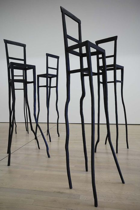 "Black chair art sculpture contemporary Giuseppe Gallo, ""Tableau Drapeau"", l'allestimento 2007. @Deidra"