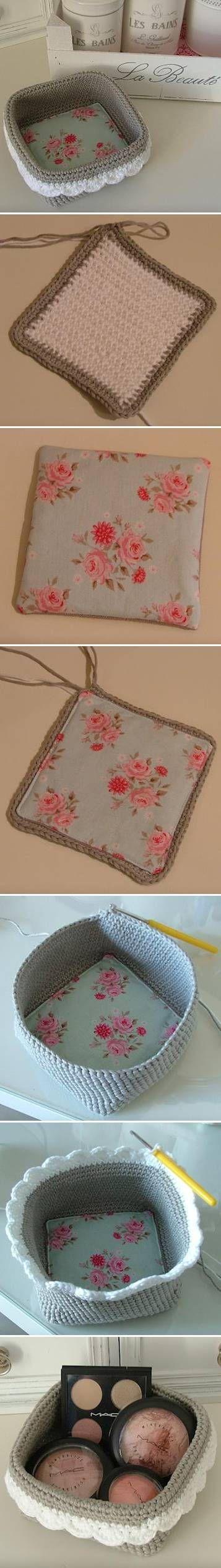 DIY cesta de crochet ❥Teresa Restegui http://www.pinterest.com/teretegui/ ❥