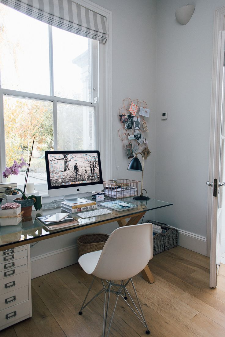 Glass Topped Desk - Calm Neutral Study With Gold And Brass Accents