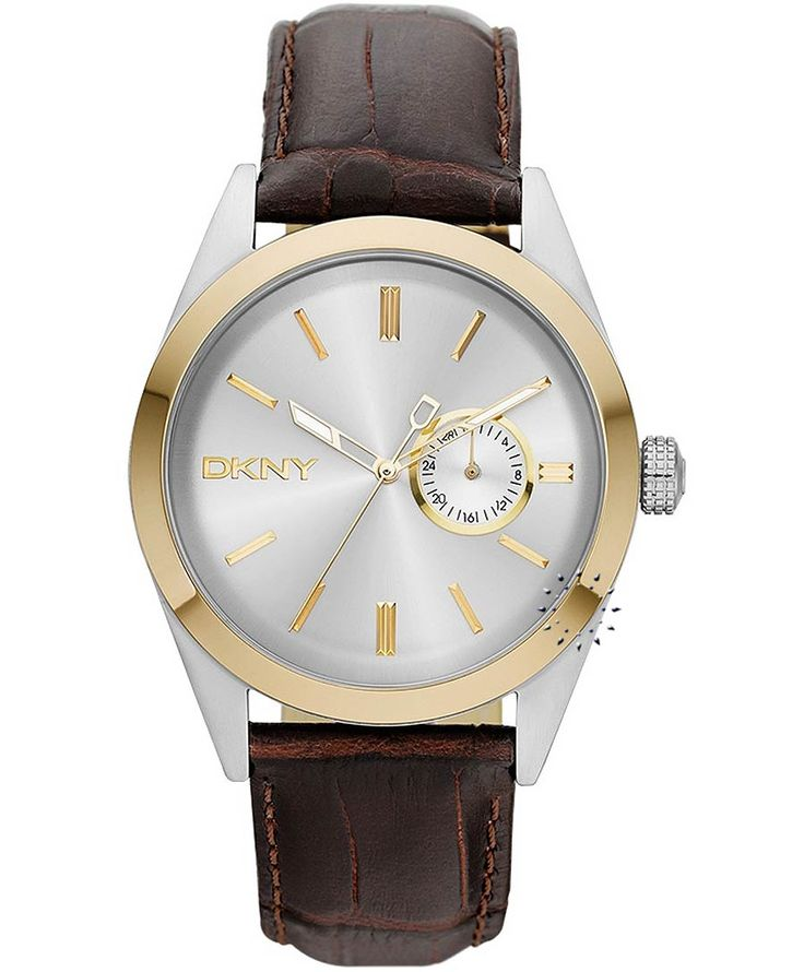 DKNY Τwo-Tone Stainless Steel Brown Leather Strap Η τιμή μας: 179€ http://www.oroloi.gr/product_info.php?products_id=32556